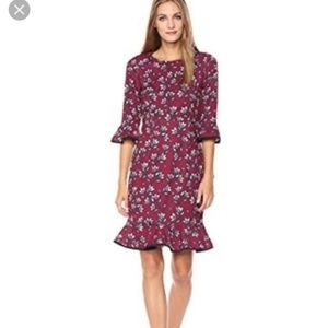 Nanette Lepore Burgundy Floral Ruffle Sleeve Dress